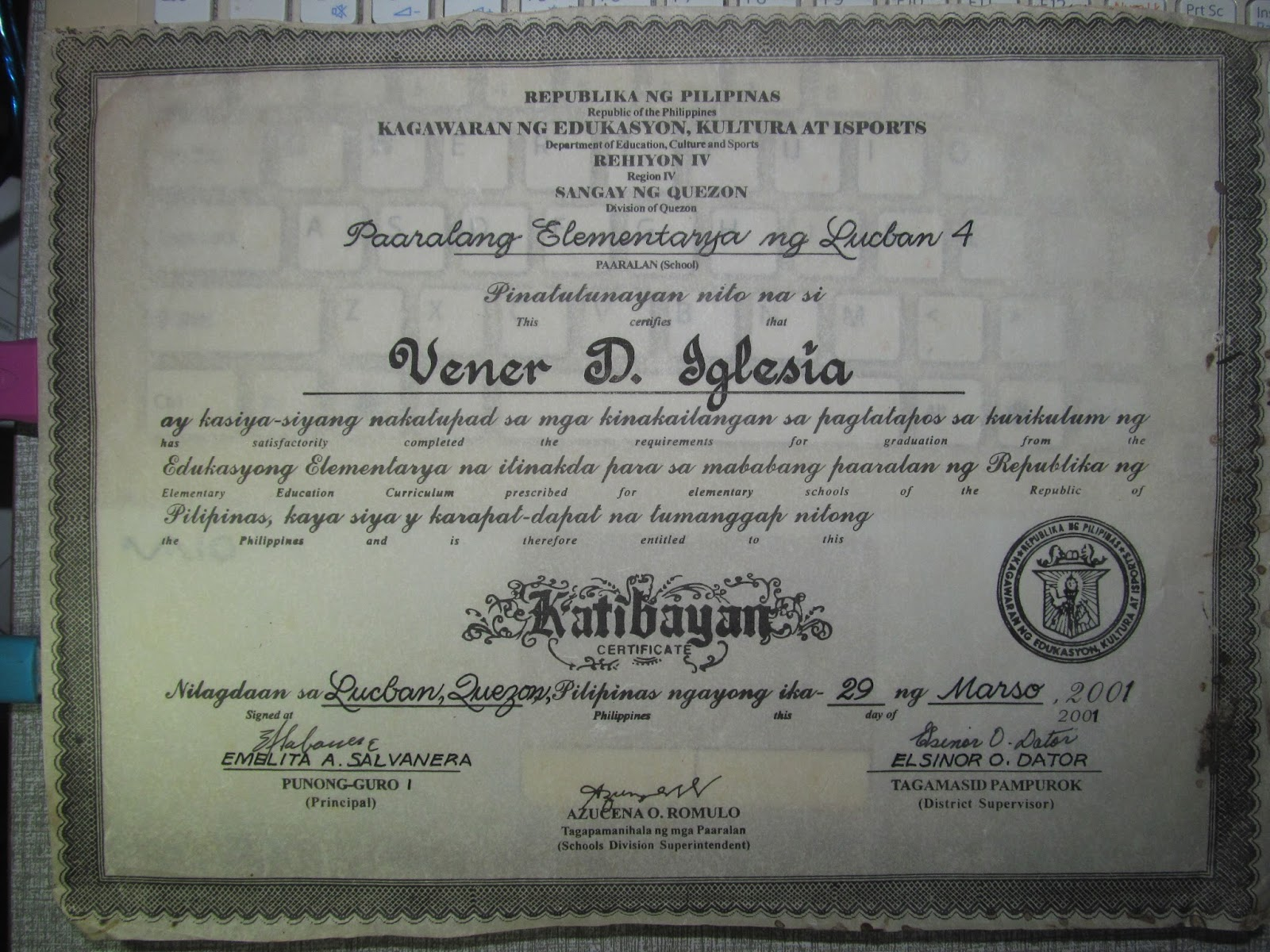 Vener del rosario iglesia a compilation of vener iglesia certificates certificate of completion from microline computer learning center sy 1998 1999 yadclub Choice Image
