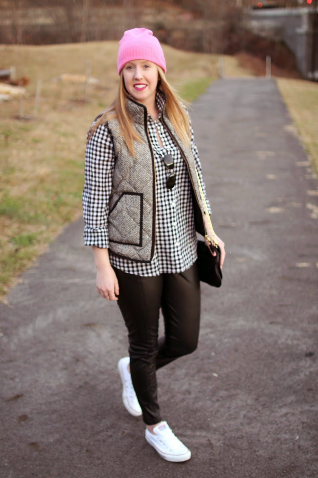boston style blogger, black and white layers, faux leather plants, on the blog, herringbone j.crew vest, gingham shirt, chuck taylors,