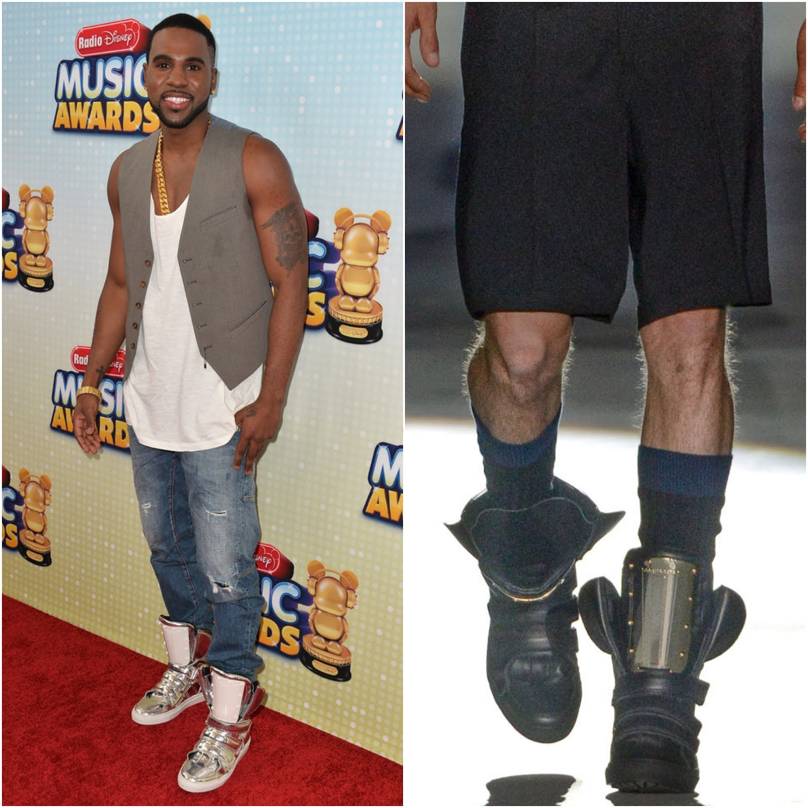 00O00 Menswear Blog: Jason Derulo's DSquared2 mirrored leather metal insert sneakers - 2013 Radio Disney Music Awards April 2013