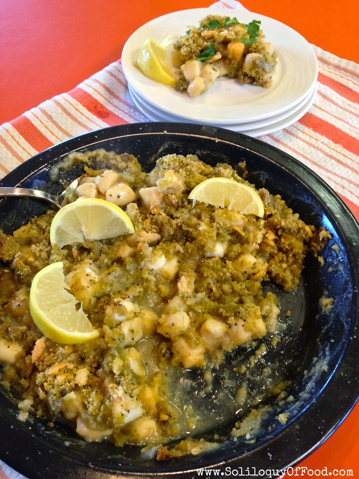 Cracker Crumb Baked Scallops ~ www.SoliloquyOfFood.com