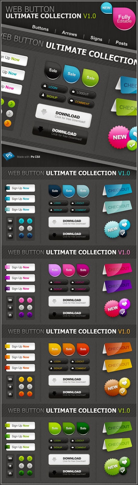 Web 2 Style Buttons PSD