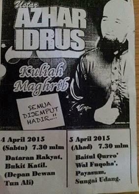 Ustaz Azhar Idrus Di Melaka 4 dan 5 April 2015