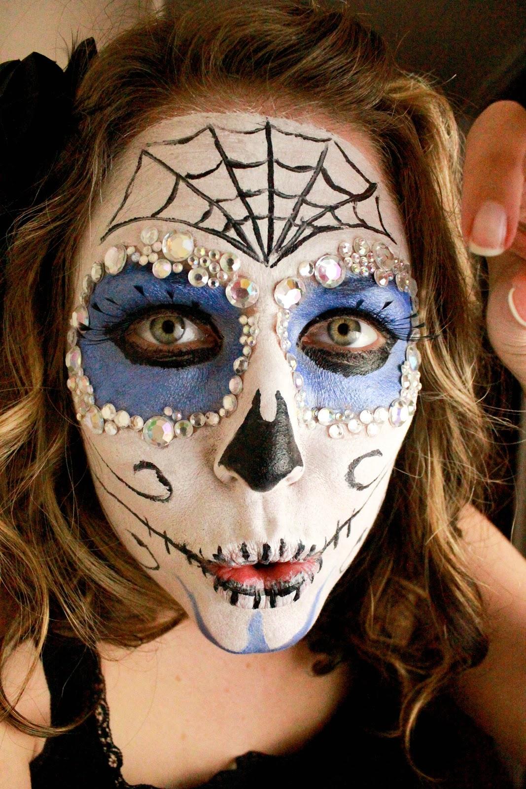 "... to Doxies: ""Dia de Los Muertos"" Sugar Skull Face Paint Tutorial Sugar Skulls Face Paint Black And White"