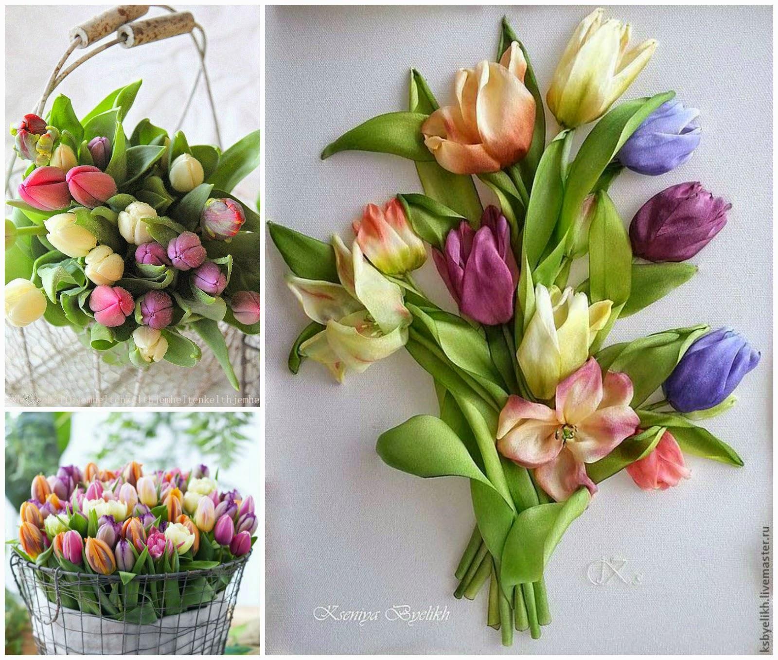 Фото вышивка лентами тюльпаны