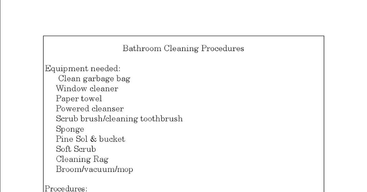 Her organized life create cleaning procedures for each room for Bathroom cleaning procedure