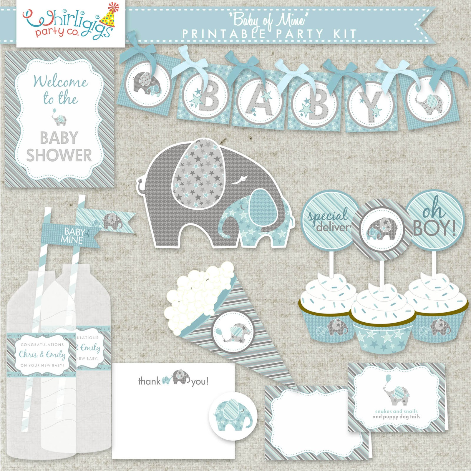 Whirligigs party co elephant baby shower for Baby shower decoration templates