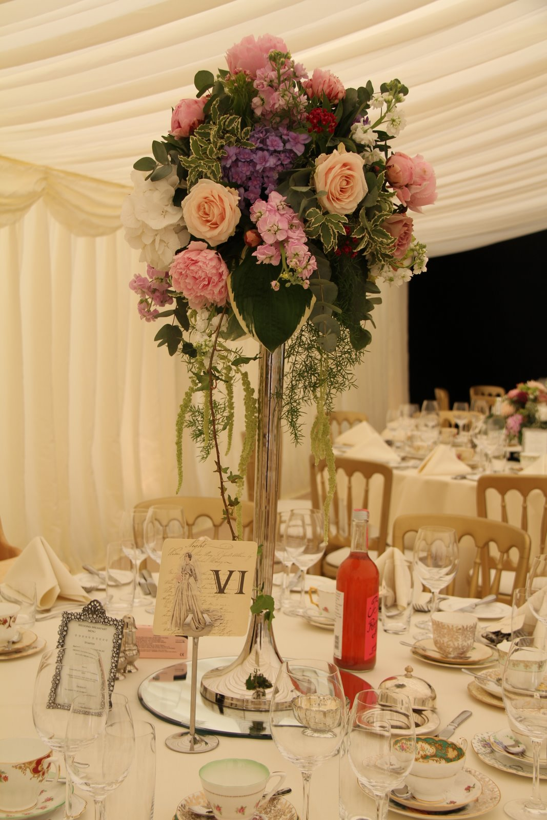 Flower design table centrepieces silver candlestick table for Table centrepiece