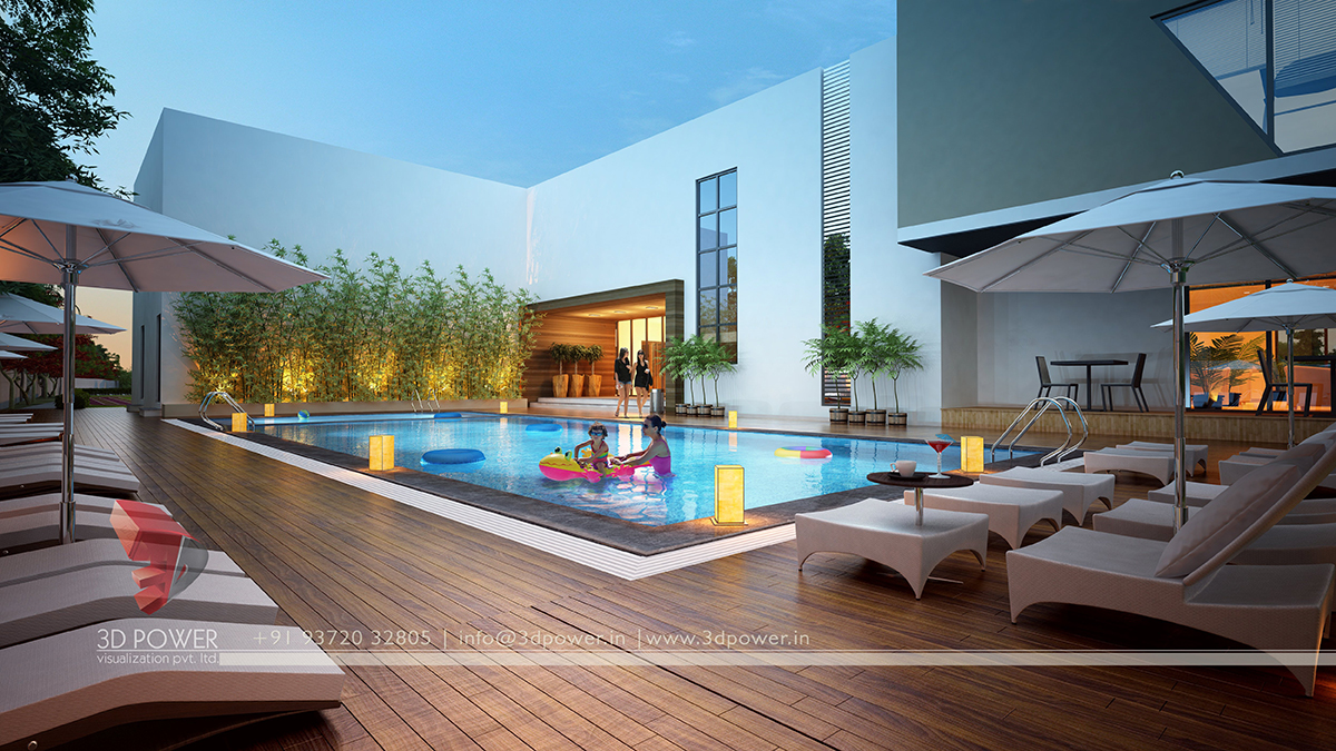 Corporate building design 3d rendering realistic for Pool design 3d