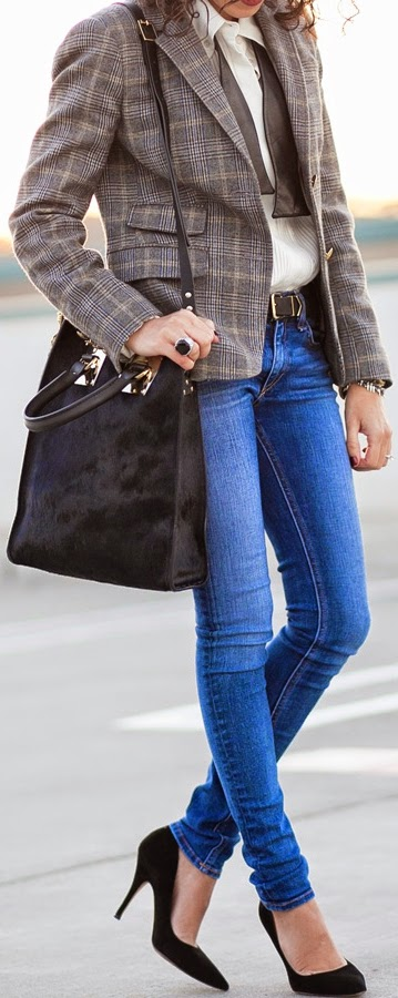 Chic Plaid Blazer with Silk Tuxedo Blouse and Skinnies Jeans | Classic Street Outfits