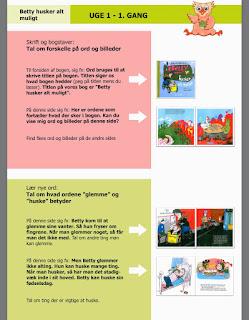 Anvisningerne til boglæsningen ser sådan herud. Linket fører ind til forældreforløbet, hvor du også finder vejledningen