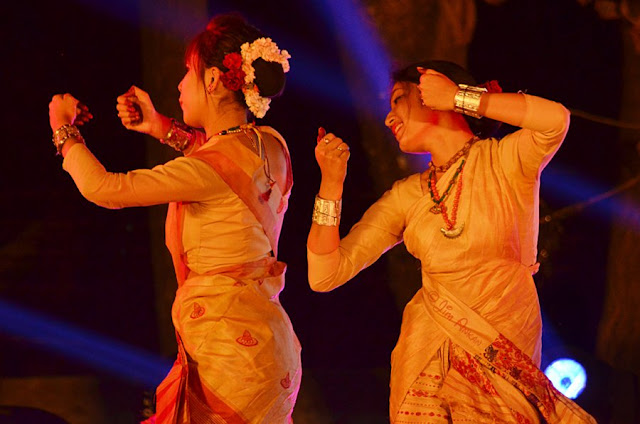 Bihu dancers at Rongali Bihu festival in Bangalore (photo - Jim Ankan Deka)
