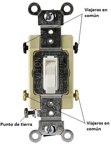 Partes de un interruptor de cuatro vías