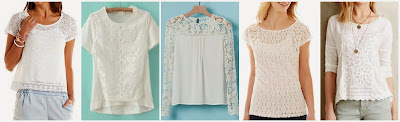 Charlotte Russe Crochet Trim Sheer Lace Tee $10.00 (regular $24.99)  Romwe Round Neck Lace Dip Hen T-Shirt $14.17 (regular $27.17)  Romwe Hollow Lace Chiffon White Blouse $14.50 (regular $28.29)  Liz Claiborne Short Sleeve Lace Tee with Cami $20.40 (regular $34.00)  Anthropologie Meadow Rue Tayrona Lace Top $49.95 (regular $88.00)