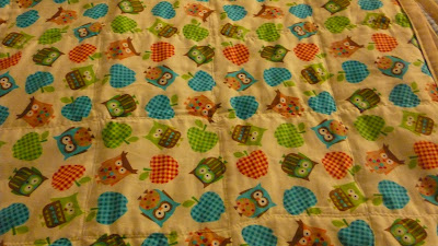 and finally a photo of the reverse of the quilt, showing the material with many owls alternating with apples. From what I recall the owls are various colors and the apples are kind of a cross-hatch pattern