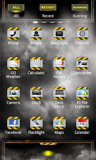 Screenshots of the DIRT GO Launcher EX for Android mobile, tablet, and Smartphone.