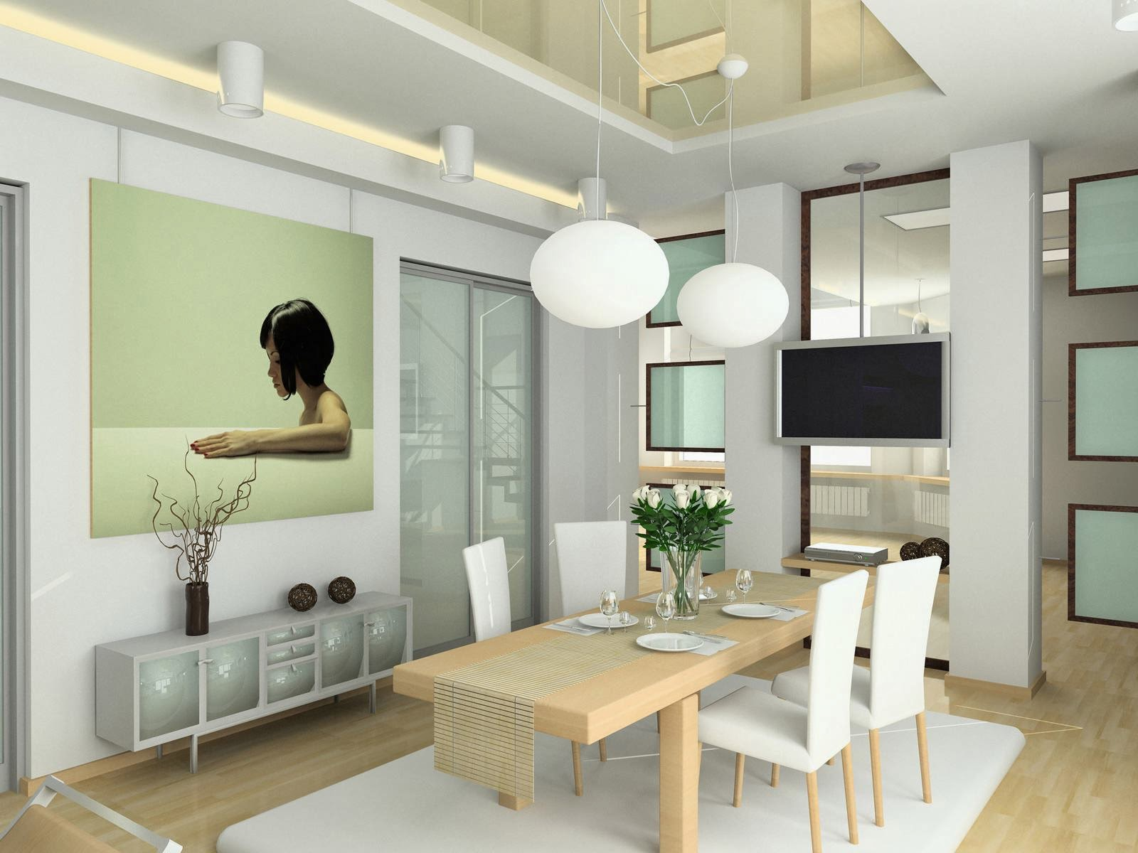 Ruang makan ukuran besar modern minimalis