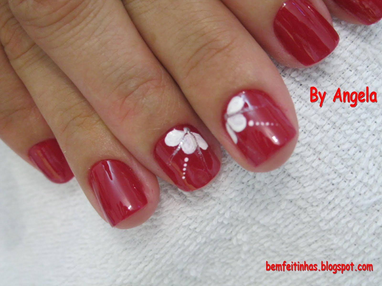 decoracao em unha branca : decoracao em unha branca:Bem Feitinhas: Decoração Branca em unha vermelha