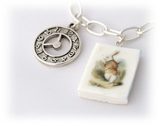 The White Rabbit Charm Bracelet handmade from Polymer Clay