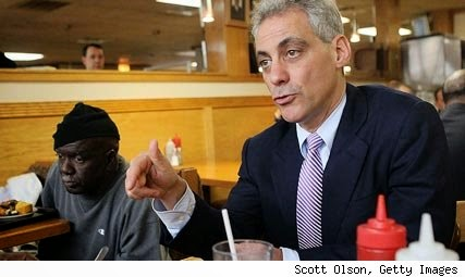 Rahm Emanuel at Hot Dougs with the people