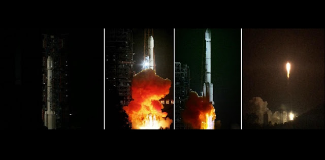 Chinese Long March 3B rocket launches APStar-9 satellite on Oct. 15, 2015. Photo Credit: Chinanews.com/Weibo
