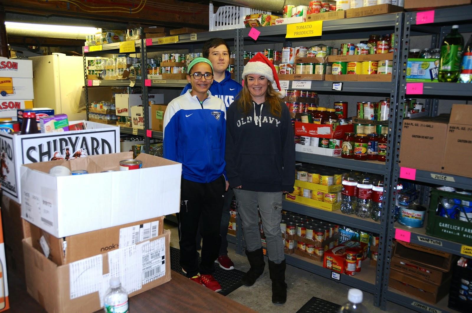 (L to R) Elf Ellie Teixeira, Co-Founder Cameron Piana, Food Pantry Executive Director Erin Lynch