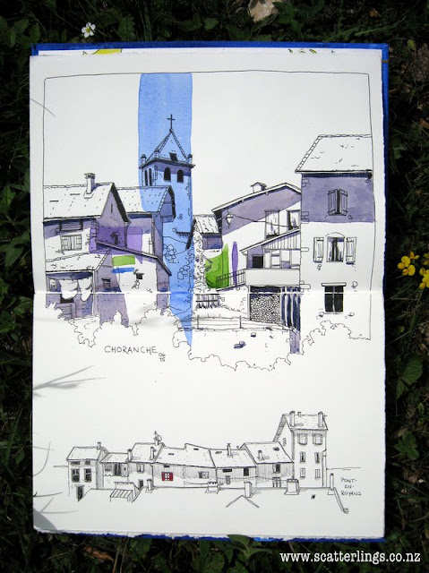 Pen and watercolor wash sketch of French village.