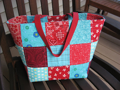 Red and Aqua Tote Bag - Fun Color Combination!