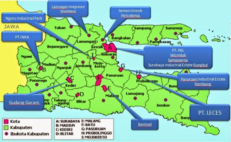 Industri Jawa Timur Peta Lokasi Kawasan Gambar Daerah Pulau