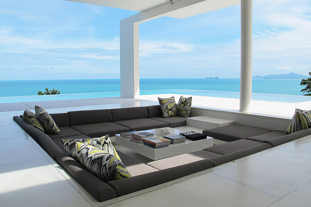 Picture of modern sunken sofa with ocean view