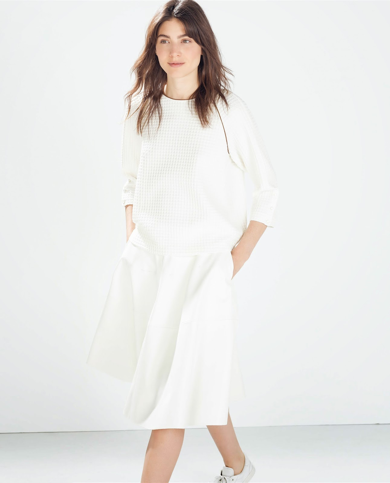 zara white long sleeve top