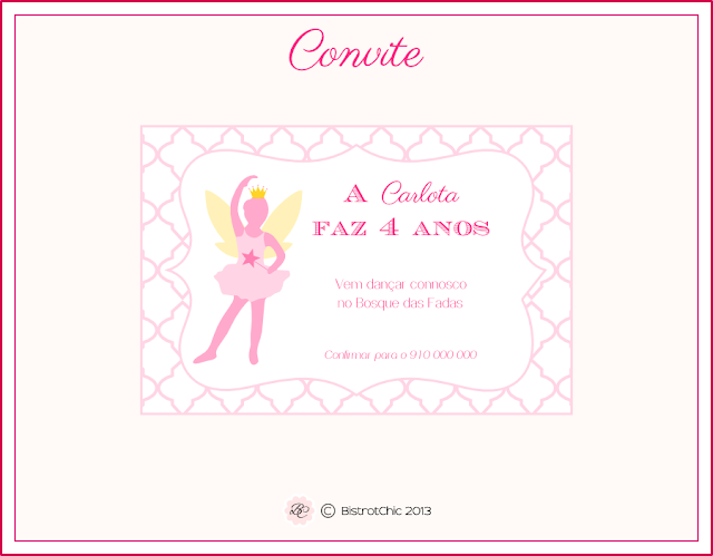 Personalised Fairy ballerina Invitation from BistrotChic