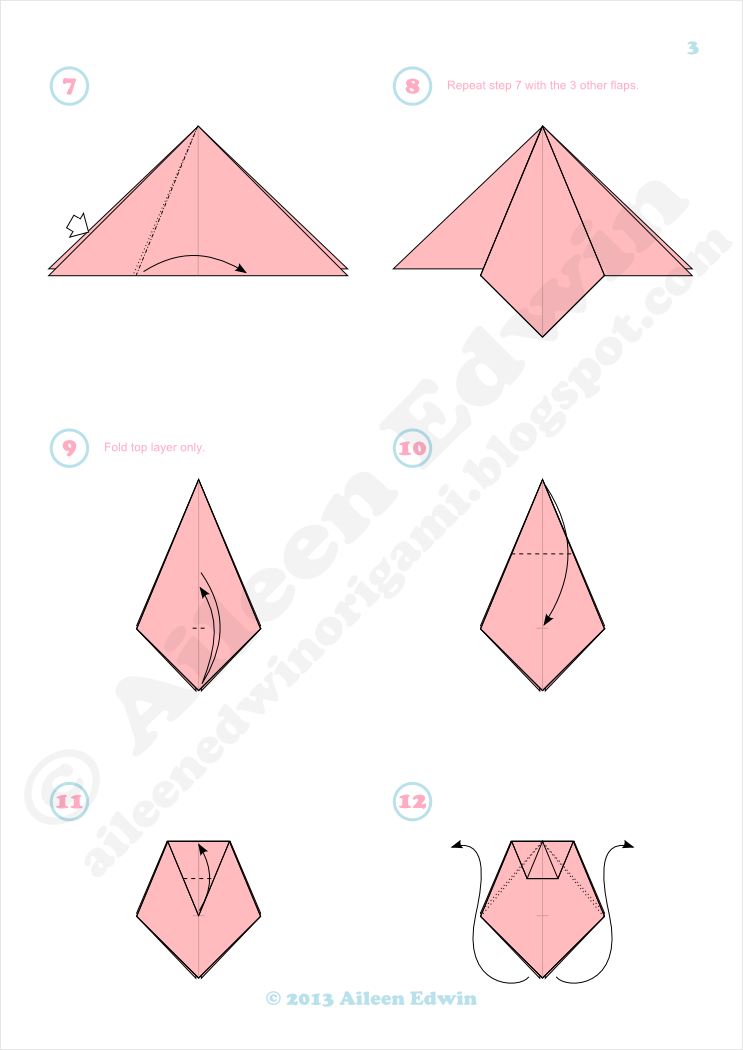 Origami Poppy Diagrams (Aileen Edwin)