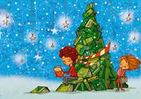 ilustración, postal navidad, libros, leer