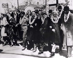 Rev. King and Rabbi Heschel leading Selma Civil Rights March
