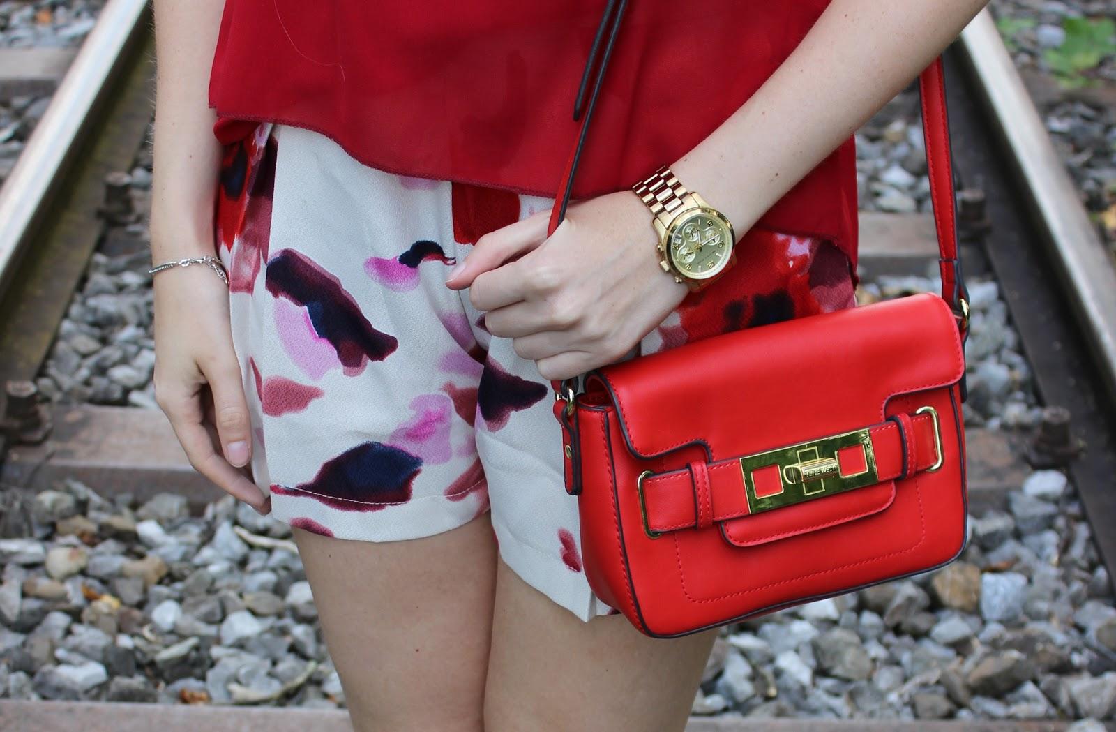 Rot Zara Shorts WalG Ninewest Blumen Mango TheBlondeLion Outfit Rielasingen