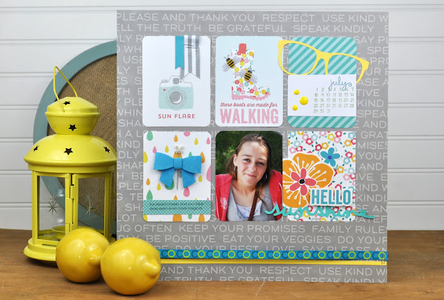 """Hello Sunshine"" layout designed by Jen Gallacher for SCT Magazine. Includes video. More info here:  http://jengallacher.blogspot.com/2015/09/3-scrapbooking-kit-videos-crop-create.html"