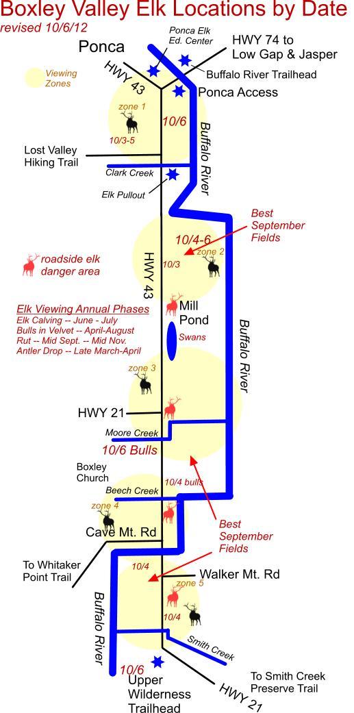 10/6/12 Elk Herd Locations in Boxley Valley