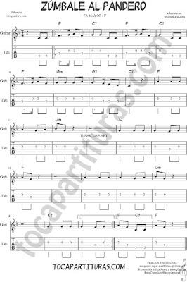 Tubepartitura Zumbale al Pandero Tablatura del Punteo de Guitarra en Fa Villancico de Navidad