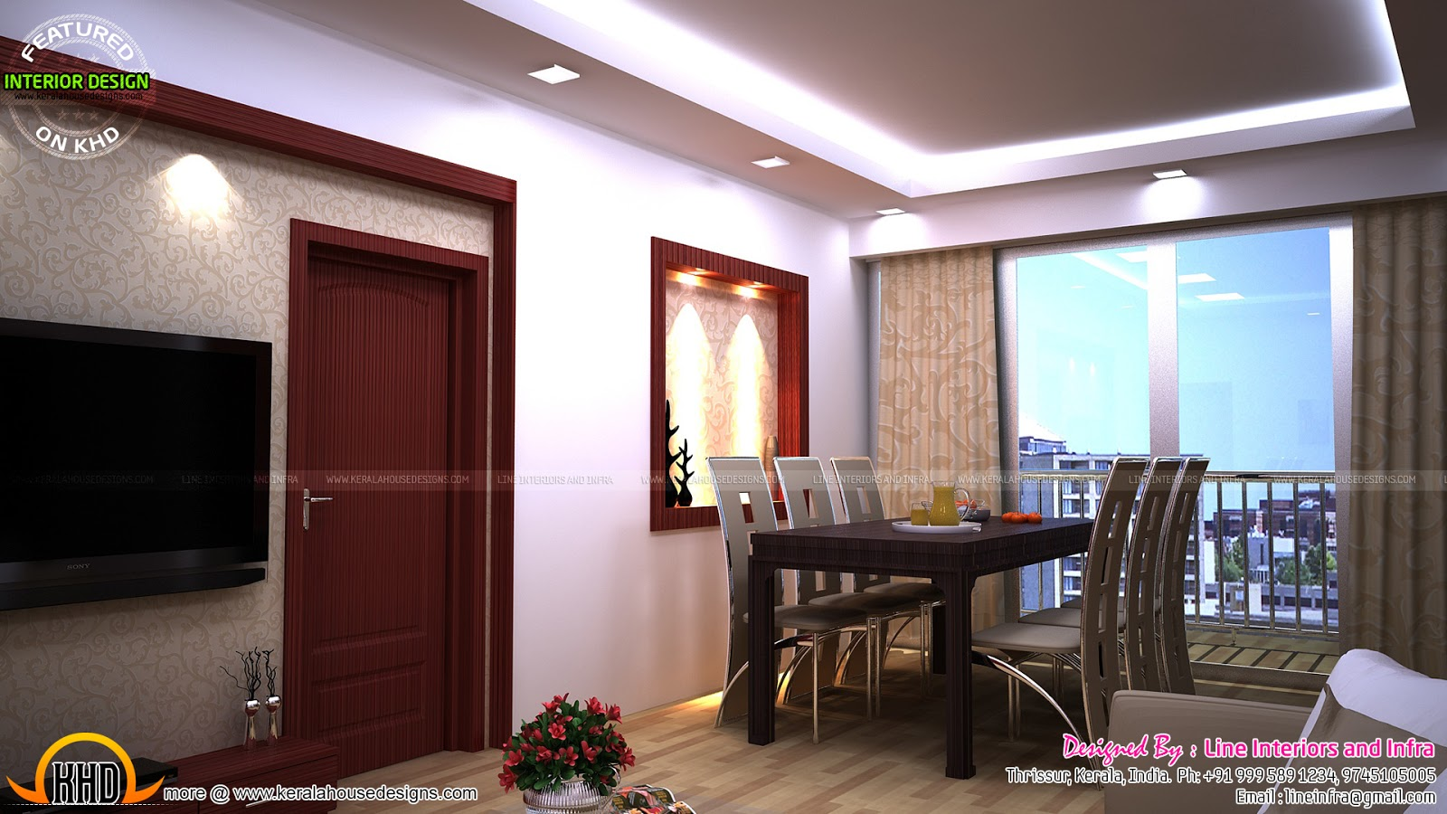 Modular kitchen bedroom dining interiors in kerala for Dining room designs in kerala