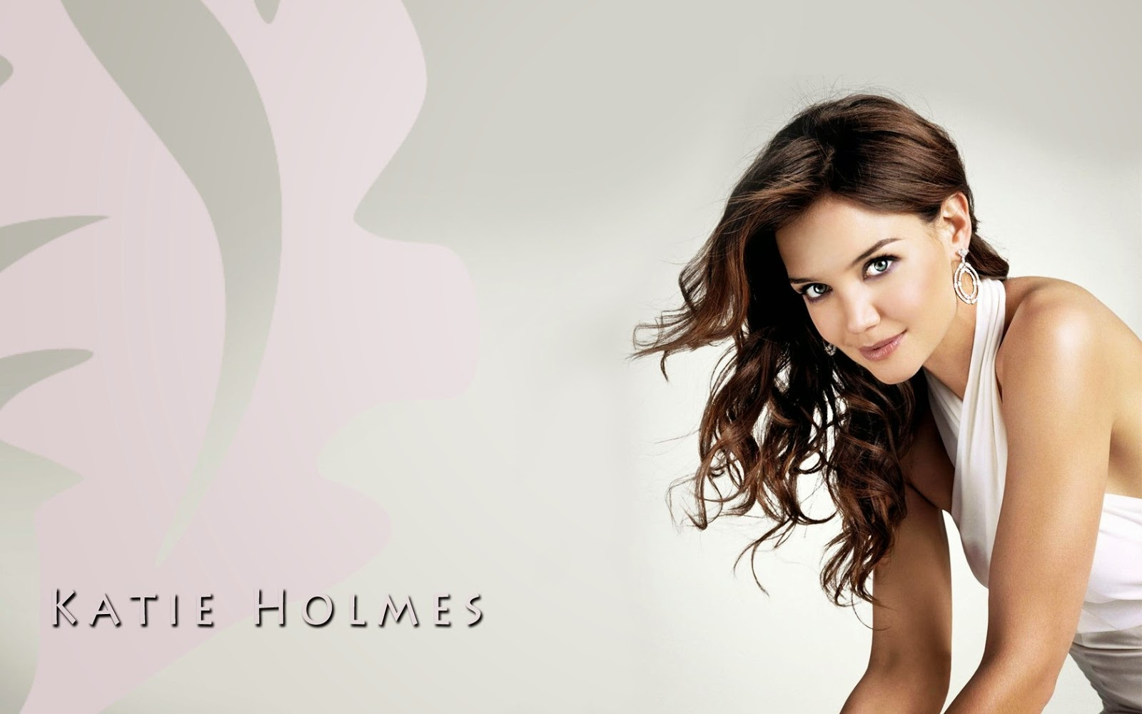 Katie Holmes American Hollywood Actress White Cloths HD Wallpaper