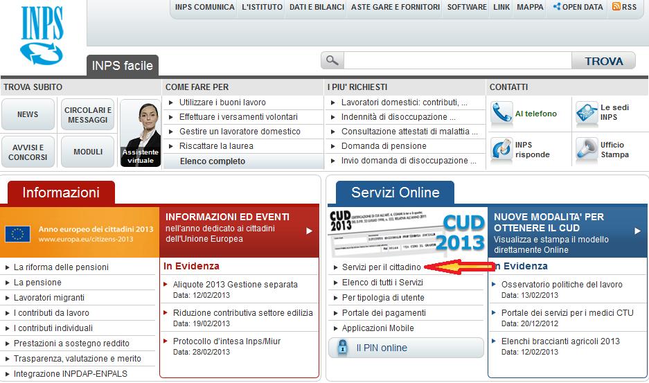 come inserire la domanda di maternit nel sito inps On inps online servizi per il cittadino