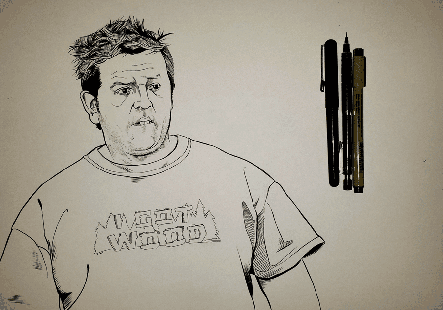 inktober - Shaun of the Dead Nick Frost portrait