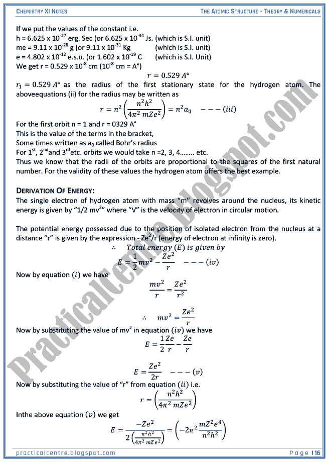 -The Atomic Structure - Theory And Numericals (Examples And Problems) - Chemistry XI