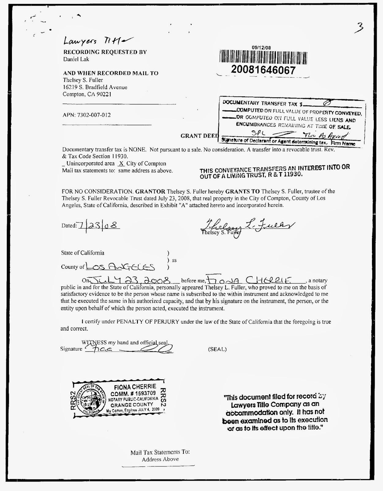 Property Deed Orange County Ca