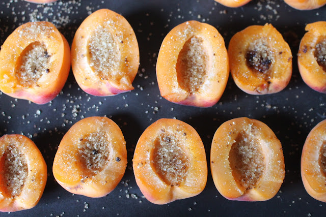 Apricots ready for baking in the oven