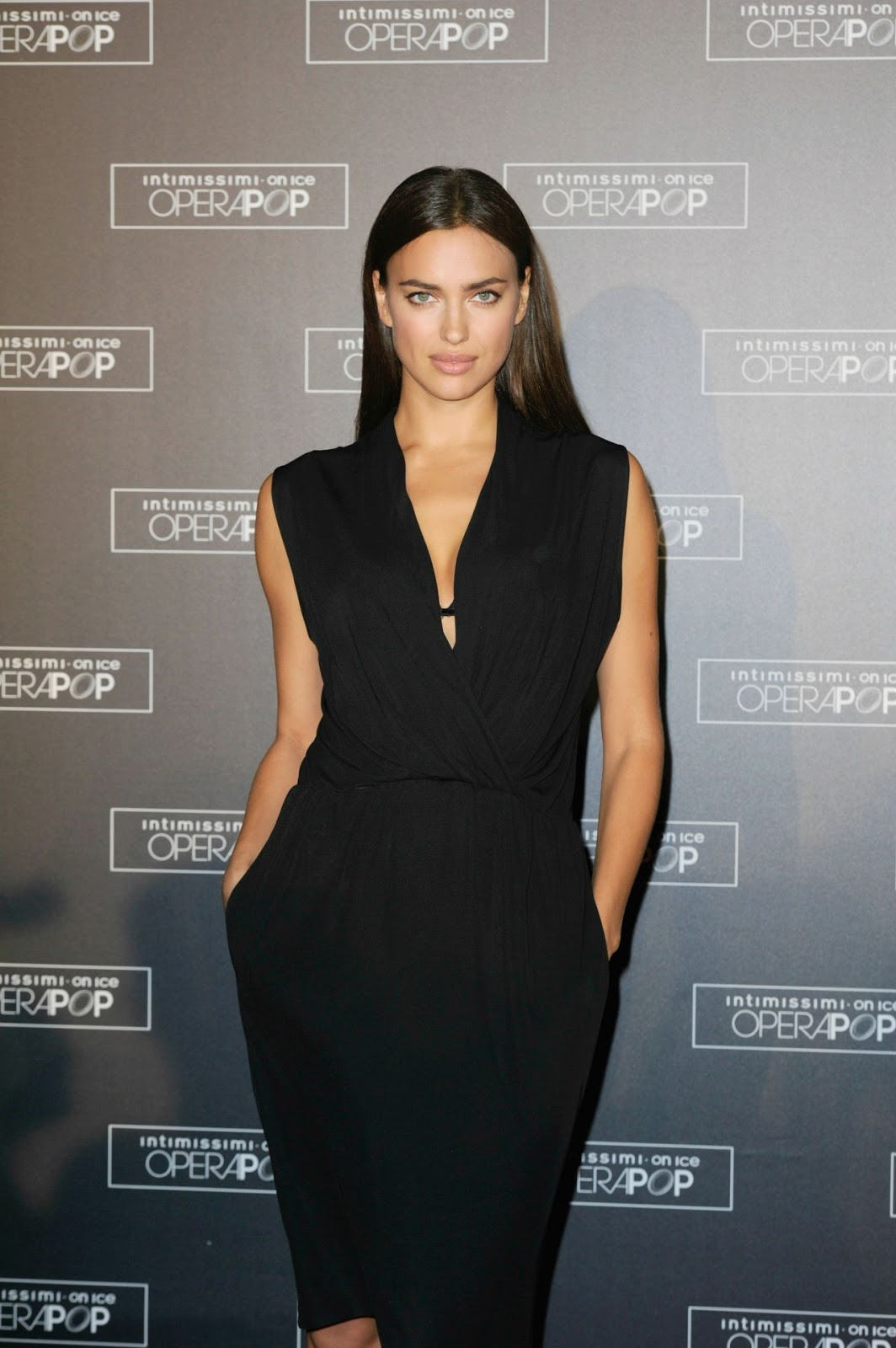 Irina Shayk is elegant in black at the Intimissimi on Ice OperaPop Event in Verona