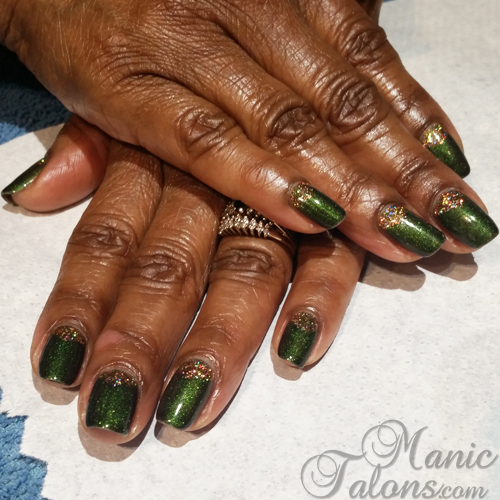 OPI GelColor Green On the Runway with Gold Glitter Accents