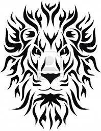 Motif Tato Singa Hitam Putih 23