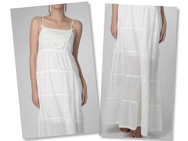 Longo branco, levinho, de alças finas com saia ampla.