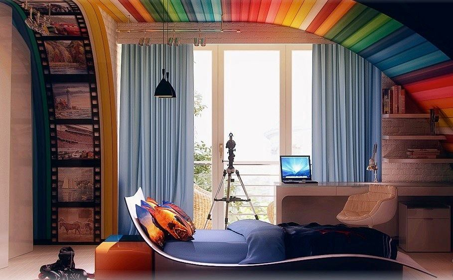 colorful bedroom ceiling designs decorated by printable fabric